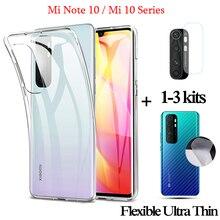 3-in-1 Ultra-thin Smartphone Protective Case For Xiaomi Note10Lite Transparent Case+mi note10 pro Back Film+xiaomi10 Camera Lens,360 Full Cover Phone Accessory Cases mi note10 lite 6.47'' Soft TPU Case