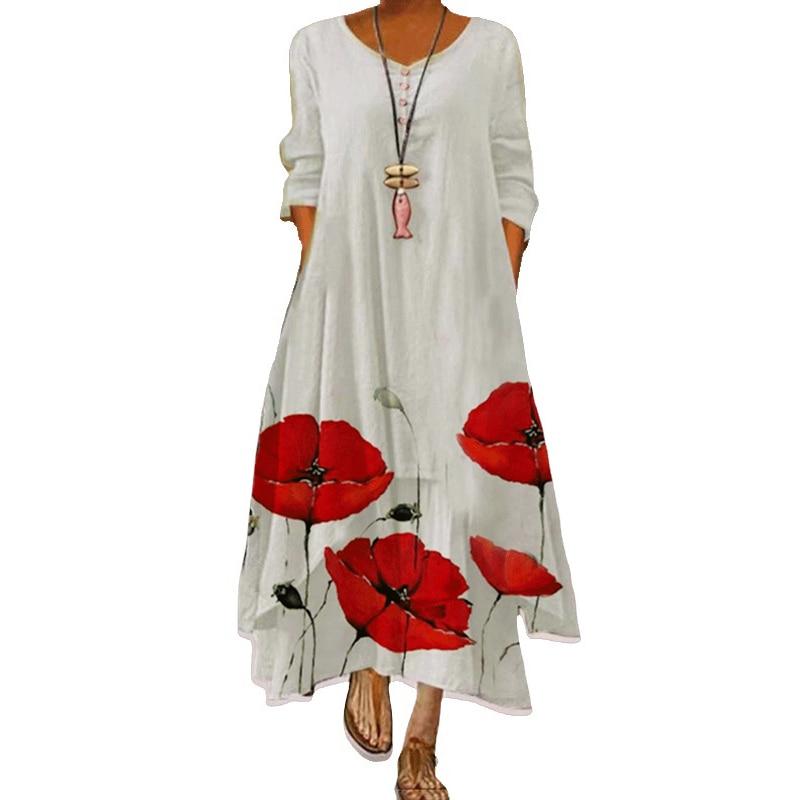 2021 Elegant Flowers Print Long Sleeve Spring Summer Dresses Casual O Neck Loose Women Dress Vintage Party Vestidos Long Dresses 12