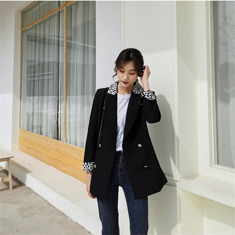 HziriP New OL Women Leopard Color-Hit Office Ladies Double Breasted Notched Gentle Fresh Autumn Slender Chic Blazers Large Size