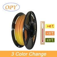 Temperatura dell'aria 1.75mm metro 3 cambio colore Pla gradiente forniture stampante 3D grigio arancione giallo rosso penna 1kg 10m 100g campione