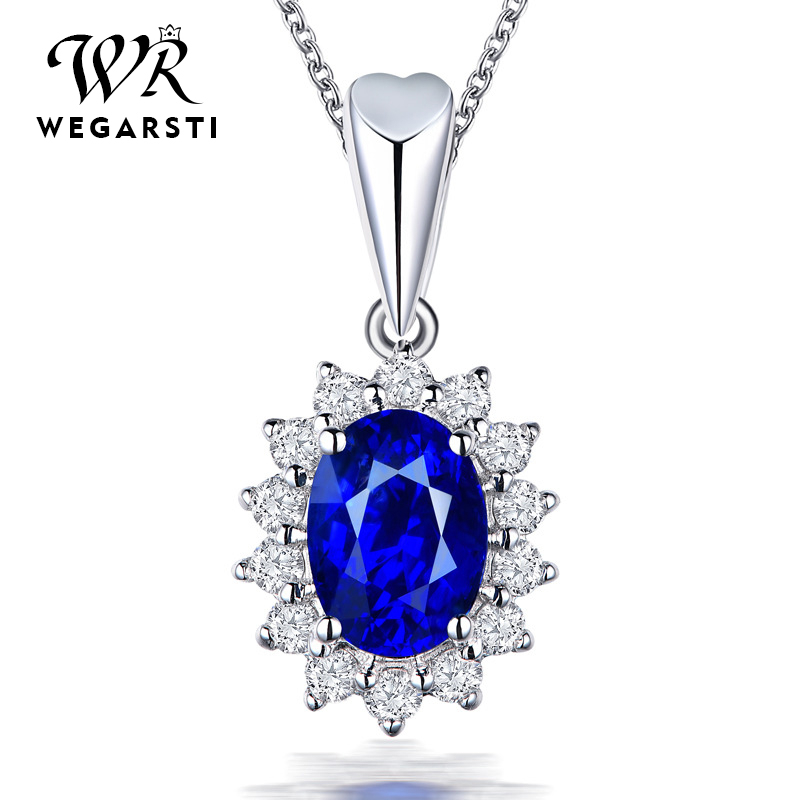 WEGARSTI 6 Color 925 Silver High Quality Classic CZ Pendant Necklace For Women Trendy Blue Red Green Stone Wedding Jewelry Gifts