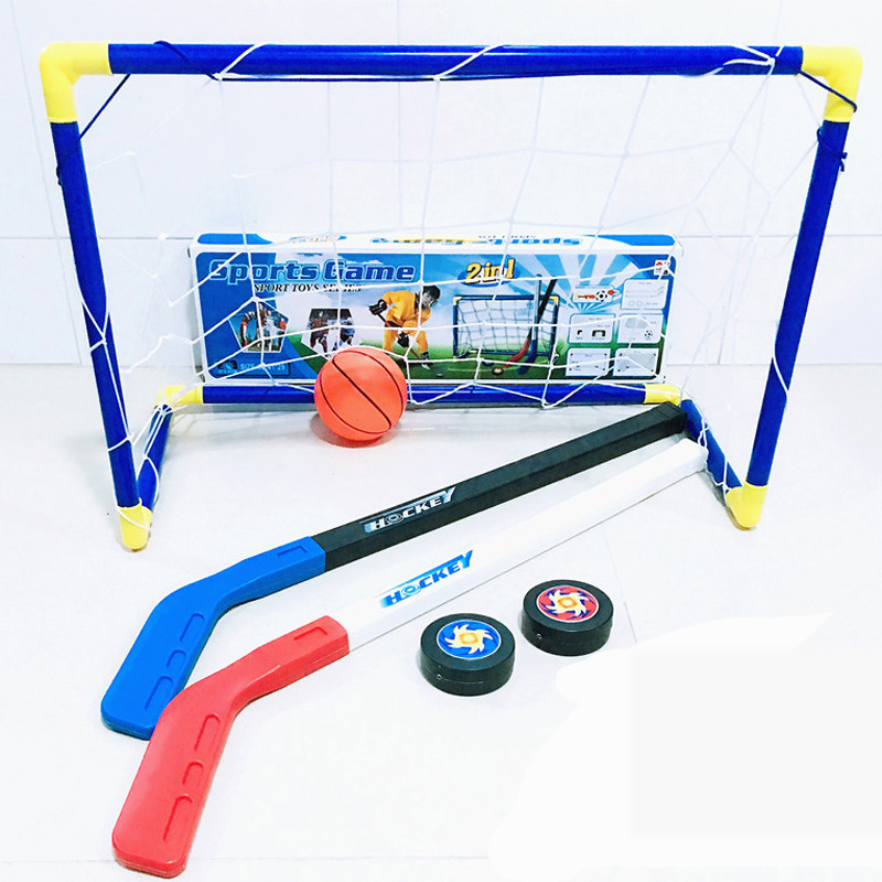 Kids Children Winter Ice Hockey Stick Training Tools Plastic Golf Football Soccer Goal Removable Mini Football Set