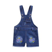 2020 Baby Girl summer Sweet Fashion Boys Washed Jeans Jumpsuit Kids Denim Romper Buttons Jumpsuits Straps Short Pants1-5Y