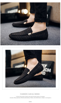 Casual Shoes Loafers New Slip On Light Canvas Youth Men Shoes black white  Fashion Footwear S1201-1225 Dn