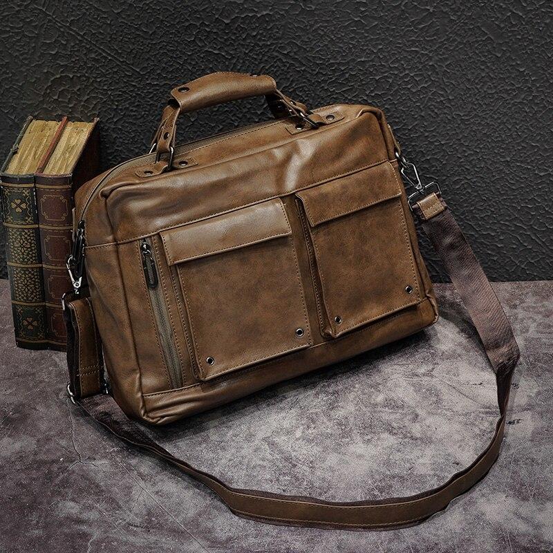 Men's Cross Section Casual Vintage Briefcase Messenger Bag Handbag Men's Bag PU Leather Shoulder Bag