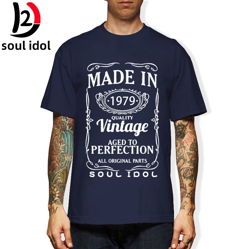 D2 Vintage <font><b>1979</b></font> 41 Years Old T Shirt Men Cotton Short Sleeve T-shirt <font><b>Tshirt</b></font> Camiseta Brand Clothing Funny New 41th Birthday image