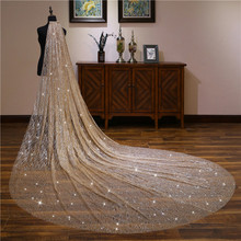 75-500cm White/Ivory Bridal Veil With Comb One Layer Cathedral Pearls Soft Tulle Velos de Noiva Wedding Beaded