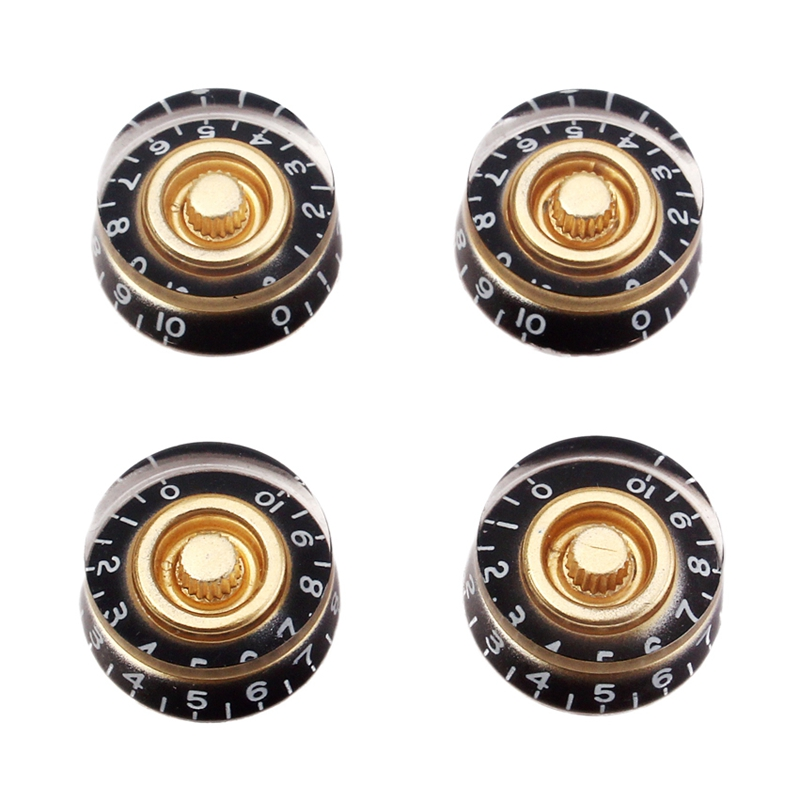 ELOS-4Pcs Lots Speed Control Guitar Knobs Black for LP Electric Guitar Bass Replacement Useful Guitar Accessories