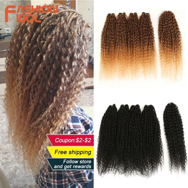 FASHION IDOL Afro Pelo Rizado mechones 5 unids/paquete 24 pulgadas Rubio degradado natural negro extensiones de pelo ondulado mechones de fibra sintética