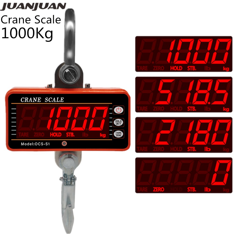 1000Kg <font><b>2000LB</b></font> Crane Scales Industrial Heavy Duty Weighing Balance Digital Hook Scale Hanging Gram Weighting Steelyard 30% image