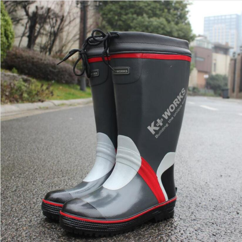 New Arrivals Women/Men Rain Boots Knee High Labor Shoes Male Rubber Shoe Galoshoes For Fishing Waterproof Warm Antiskid image