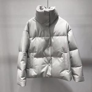 Image 1 - 本革ジャケット女性ホワイトダックダウンジャケットコート2020冬厚く暖かいコートとジャケット女性プラスサイズ