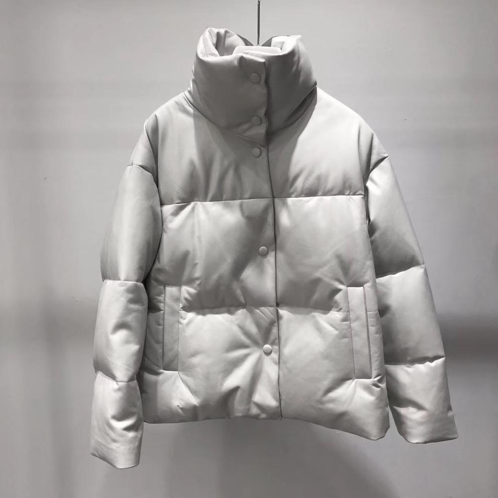 Veste en cuir véritable femmes blanc canard vers le bas vestes en peau de mouton manteau 2019 épais chaud manteaux et vestes femmes grande taille