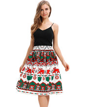 Christmas Digital Print Women Vintage Skirts Female High Waist A-Line Party Skirt Women'S Pleated Retro Skirts Femme Vestidos(China)