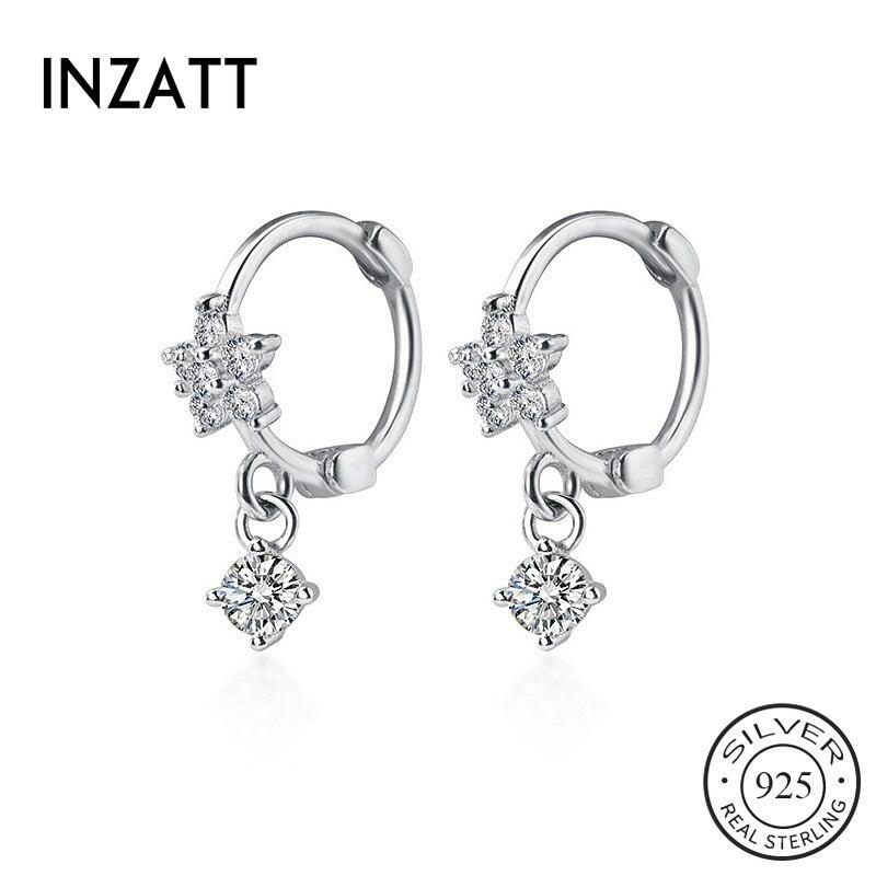 INZATT Real 925 Sterling Silver Zircon Flower Hoop Earrings For Fashion Women Party Fine Jewelry Minimalist Cute Accessories