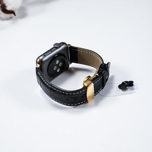 Image 5 - עור רצועת עבור אפל שעון 5 4 להקת 44mm 40mm פרפר אבזם iwatch 3 2 רצועת 42mm 38mm אפל שעון להקות צמיד