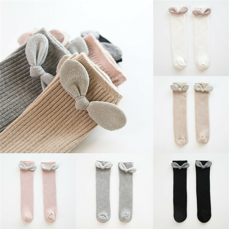Emmababy New Kids Socks Toddlers Girls Big Bow Knee High Long Soft Cotton Lace Baby Socks Kids Kniekousen Meisje Dropshipping
