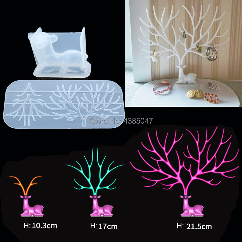 1PC Deer Tree Dried Flower Jewelry Mold Silicone Jewelry Tools For Making Jewelry Accesorries