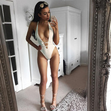 HUAN BEAUTY Lady Sexy Black White Jumpsuit Tight V Neck Twist Rompers One-piece Tops WomenBodysuit Mono Flaco De Las Mujeres