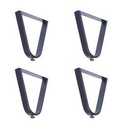 Czarne nóżki do mebli X4  stolik/Sofa/szafka łazienkowa nóżki metalowe stopy w kształcie litery U wysokie 8 cali 200MM
