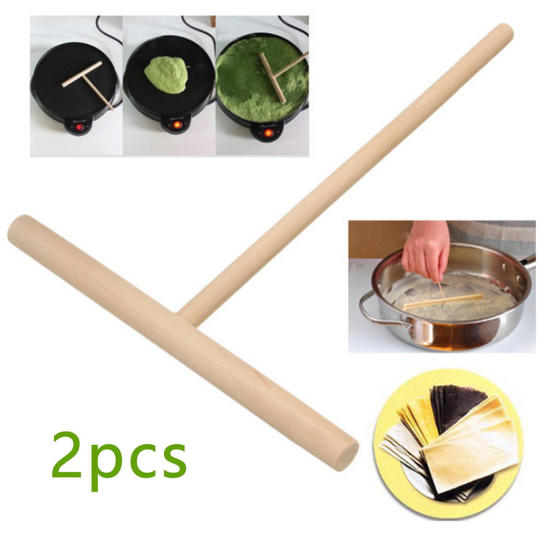 Behogar 2PCS T-shaped Wooden Batter Crepe Jianbing Pancake Spreader Sticks for Restaurant Home Kitchen DIY Cooking Tool 16x12cm
