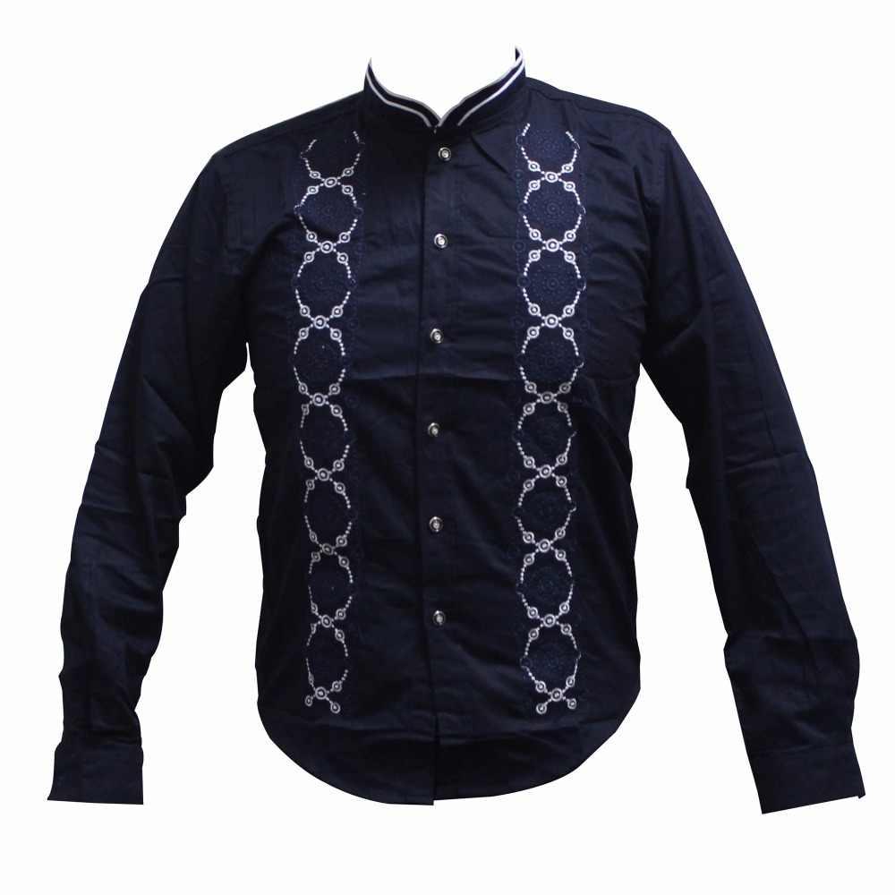 African Dashiki Del Ricamo Manica Lunga Musulmano T-Shirt Tradizionale Nigeria Nativo Ankara Partito Camicetta рубашка мужская