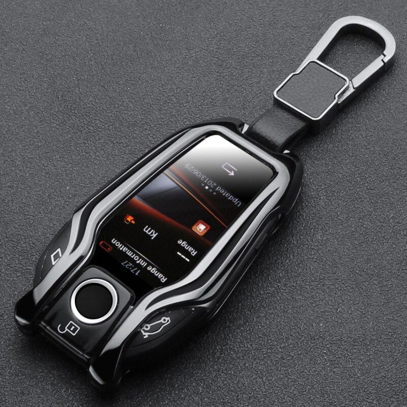 Цинковый брелок для автомобильных ключей, светодиодный Дисплей ключ крышка чехол для BMW 5 7 серии G11 G12 G30 G31 G32 i8 I12 I15 G01 X3 G02 X4 G05 X5 G07 X7