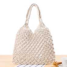 Fashion Hollow Straw Bag Woven Bag Forest female Mesh Rope Weaving Tie Buckle Reticulate Net Shoulder Bag Beach Holiday Bags dusun summer hand woven straw bag ribbons bamboo package weaving bohemian holiday beach bag bow hollow female causal box totes