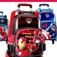 Authentic Authorized Disney Trolley School Bag Primary School Girl Boy 1-3-16 Children's Spider-man Six-wheel Trolley Case Drag