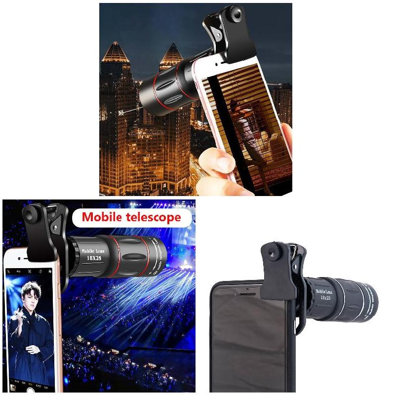 Portable High Magnification Monocular Telescope <font><b>18X</b></font> Focus <font><b>Lens</b></font> for Universal Phone Camera LFX-ING image