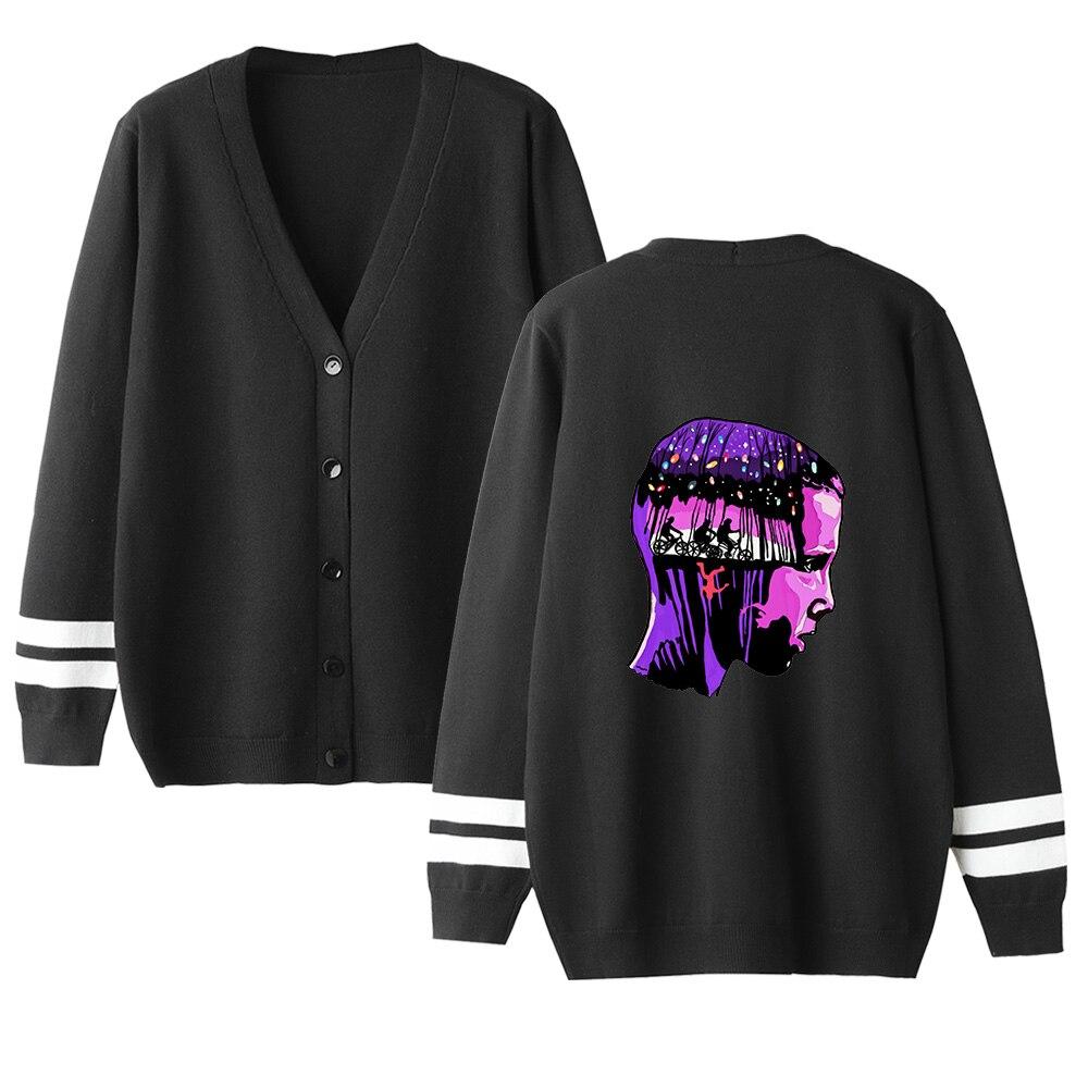 Stranger Things V-neck Cardigan Sweater Men/women Hot Fashion Casual Harajuku Sweater Stranger Things Popular Black Casual Tops