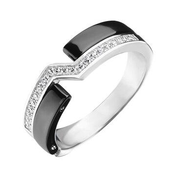 Кольцо из серебра с керамикой и фианитами R00621