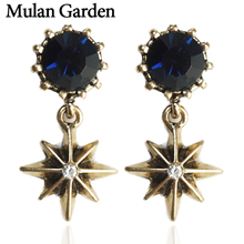 M&G Gold Star Pendant Dangle Earrings for Women Round Blue Rhinestone Statement Earrings Fashion Jewelry Female Accessories Gift джинсы g star g star gs001ewfzly1