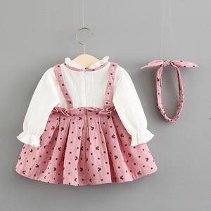 Image 2 - Baby Girl Dress Cotton Print Bow Princess Dress With Baby Headbands 2pcs Clothes Set Birthday Party Dress Infant Clothes
