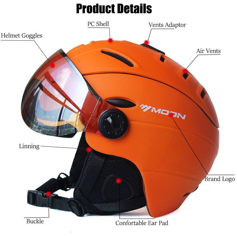 MOON Профессиональный полузакрытый лыжный шлем цельно Формованный спортивный мужской женский Снежный Лыжный Сноуборд шлемы с защитными очк... - 3