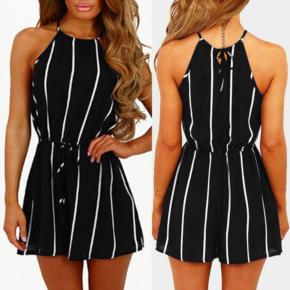 Women Stripe Print   Romper   Playsuit Off Shoulder Sleeveless   Rompers   bandage Jumpsuit Playsuit For Summer Beach Party Clothes