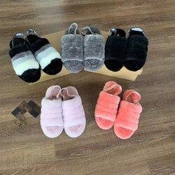 Marke Dame Flip-Flops Hausschuhe Frauen Schafe Leder Pelz Sliders Weibliche Indoor Hause Schuhe