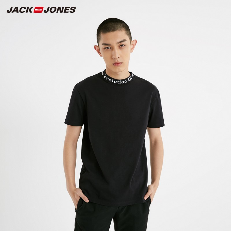 JackJones Men's 100% Cotton Letter Print Mock Neck Round Neckline Short-sleeved T-shirt Menswear Style| 219101517