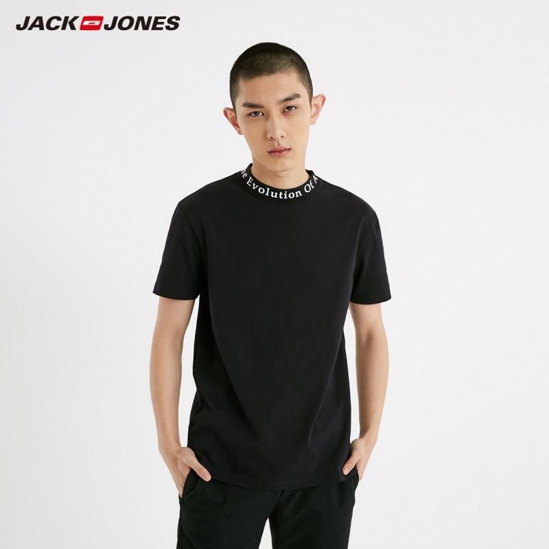 JackJones Men's 100% Cotton Letter Print Mock Neck Round Neckline Short-sleeved T-shirt Menswear Style| 219101517