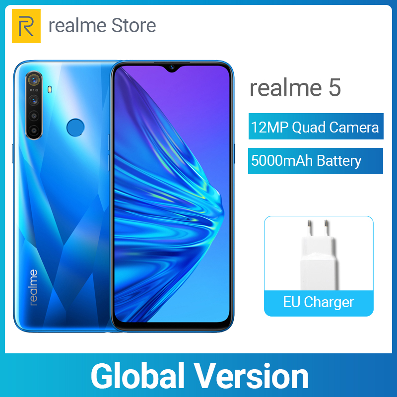 Realme 5 Global Version 3GB 64GB 6.5'' Moblie Phone Snapdragon 665 Octa Core 12MP Quad Camera Cellphone 5000mAh 10W Fast Charger