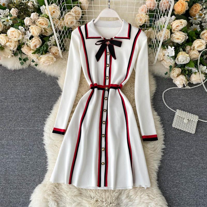 New Autumn Women Dress Single Breasted Long Sleeve Dress Ladies Knitted Strip Bowknot Lapel Elegant Knee-length Dresses