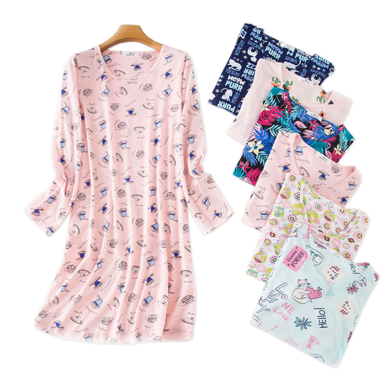 Hot sale sweet cartoon nightgowns women cosy casual cotton long-sleeved sleepwear women nightdress plus size(China)