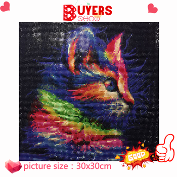 HUACAN Full Drill Square Diamond Painting Cross Stitch Cat 5d Diamond Mosaic Art Diamond Embroidery