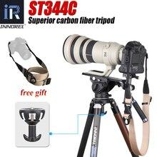 Monopode professionnel ST344C en Fiber de carbone pour caméra, pour lobservation des oiseaux, tête de balle, Tube 34mm, 35kgLoad 75mm, adaptateur de bol