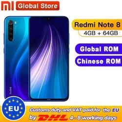Globale ROM Xiaomi Redmi Nota 8 4GB 64GB Snapdragon 665 Octa Core Per Smartphone 6.3 48MP Quad Posteriore macchina fotografica 4000mAh Cellulare