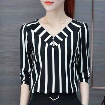 Femme Autumn Fall Office Ladies Office Blouses Top Plus Size Women Striped Blouse Shirt Female Long Sleeve Blusas plus rolled tap sleeve surplice wrap striped top