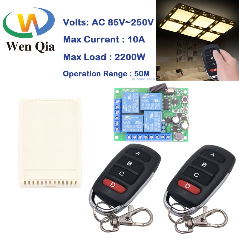 433RF Switch Remote Control AC220V 10A 4CH Relay Receiver and Transmitter for Garage\Door\LED\BulbGarage\Home appliance Control