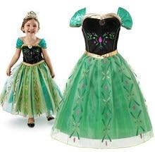 Anna vestido de princesa verde para a menina do bebê bordado shoulderless floral anna vestido de festa criança cosplay roupas de verão fantasia traje