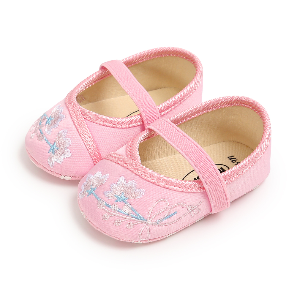 Baby Girl Princess Floral Embroidery Shoes Cotton Elastic Band Newborn Sweet Shoes Soft Anti-slip Sole Shoes Prewalker
