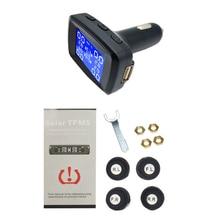 TPMS система контроля давления в автомобильных шинах ЖК-дисплей 4 внешних датчика